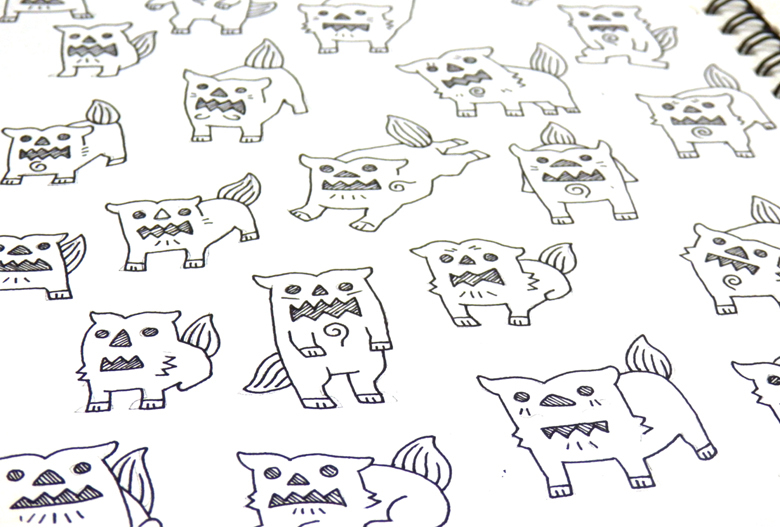オキナワプリントファクトリー 那覇 オリジナルTシャツ デザイン制作ならOPF デザイン手書きシーサー